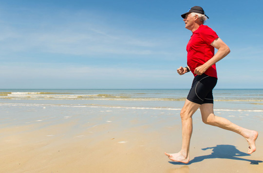 Enjoying a run on the beach